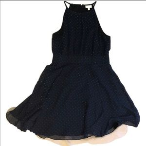 size 8 navy blue with white polka dots dress